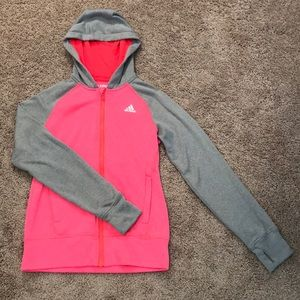 ADIDAS Pink and Grey Ultimate Hoodie